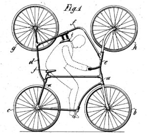 Double bicycle for looping the loop
