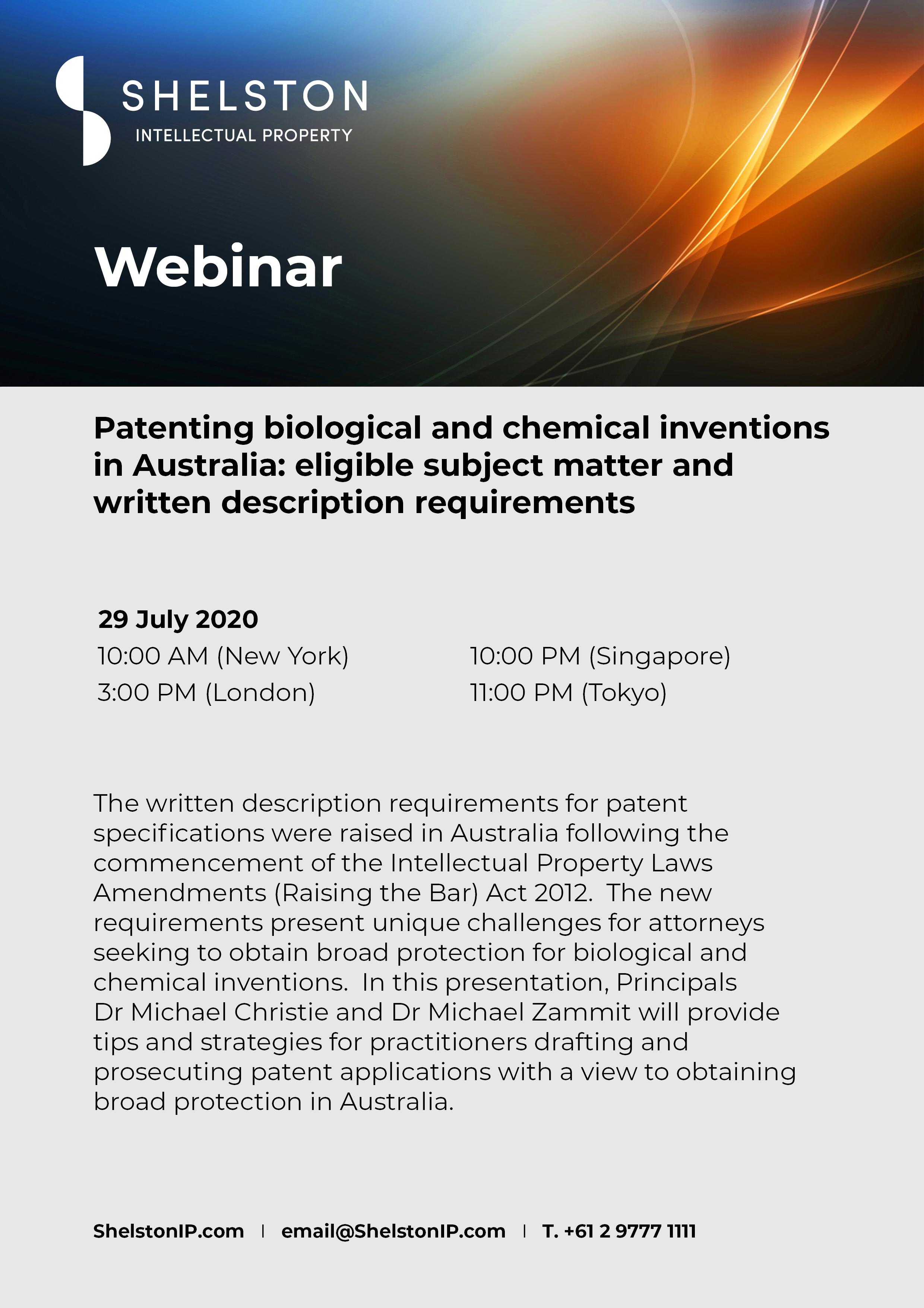 Shelston IP webinar
