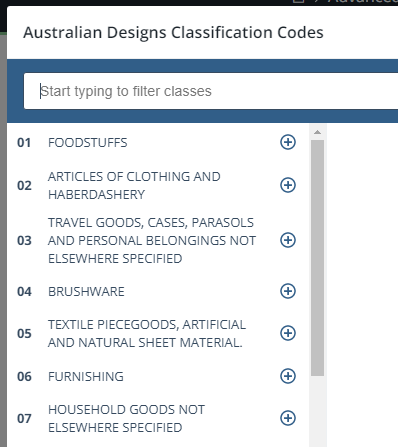design classification codes